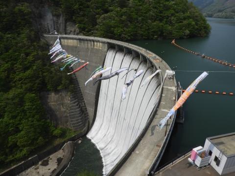 鳴子ダムのすだれ放流