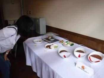 ダムカレーの食品サンプルの展示